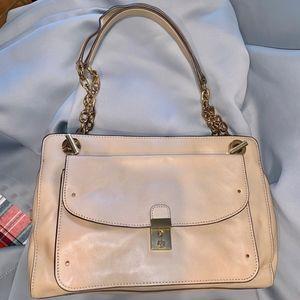 Priscilla Satchel Beige Leather Shoulder Bag